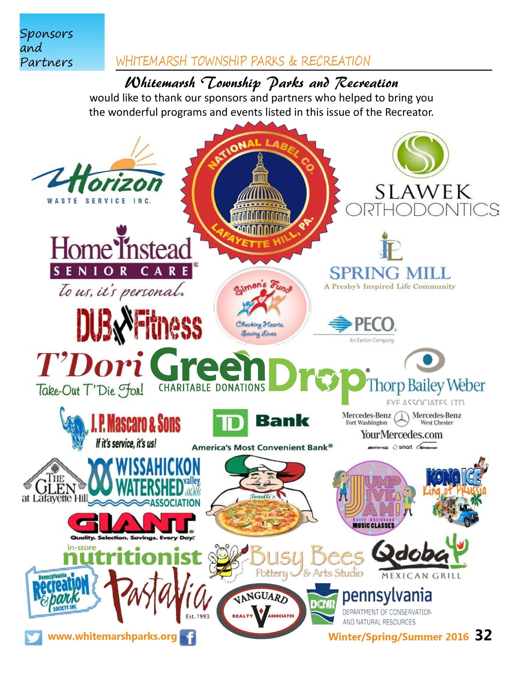 Partners & Sponsors - Winter/Spring/Summer 2016