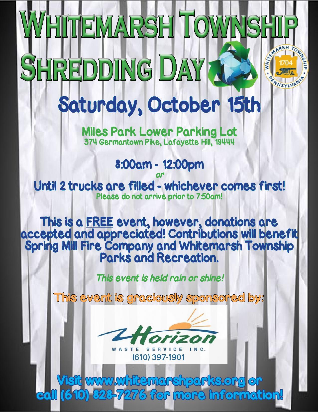 Fall 2016 Shredding